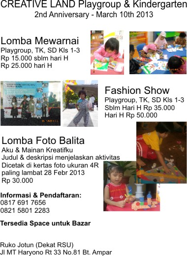 yuk ikuti lomba di Creative Land Daycare & School